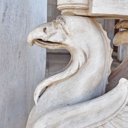 mythical: griffin, mythical creature marble statue closeup Stock Photo