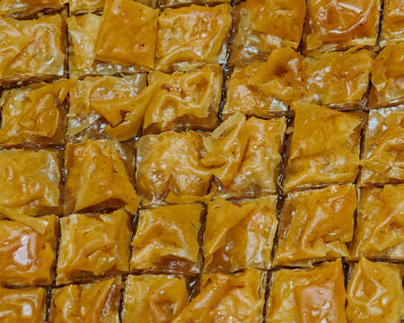 baklawa: baklava, delicious oriental desert with nuts and honey syrup