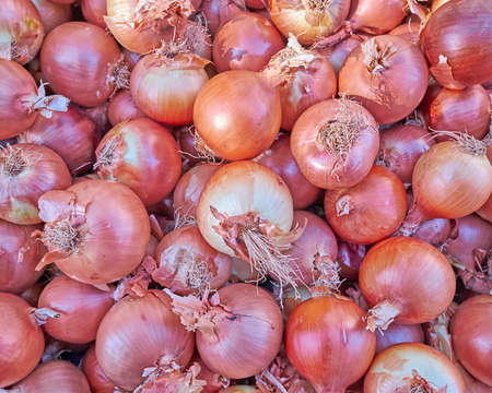 abstract food: organic brown dry onions closeup, natural background