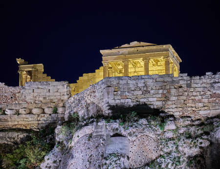 Night in Athens Greece, ancient temple on acropolis hill