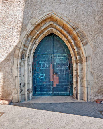arched: gothic arched church entrance door