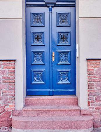 blue door: vintage house blue door Stock Photo