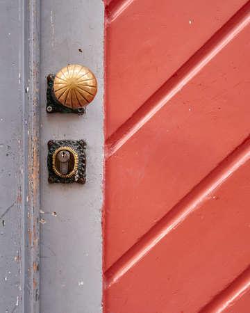 door handle: colorful door and handle detail