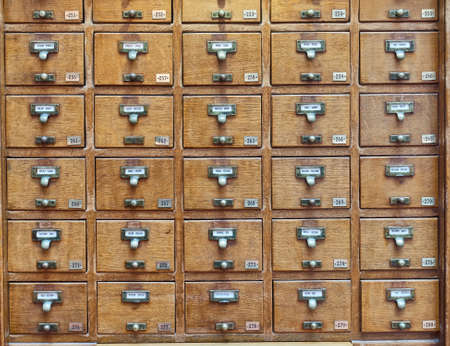 archival: vintage archive wooden drawers pattern Stock Photo