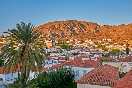 Greece, early in the morning at Hydra island, scenic view