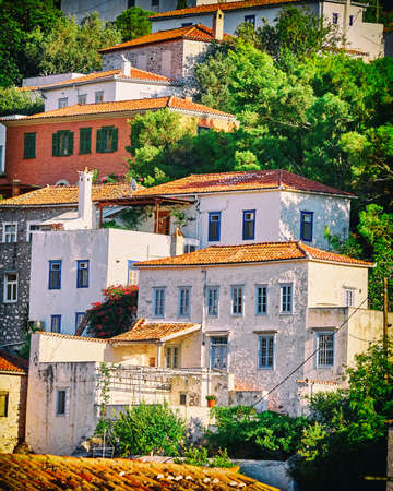 picturesque view of Hydra island town, Greece, filtered