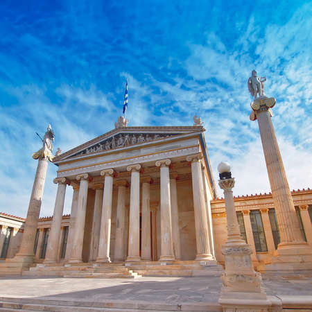 Athens Greece, the national academy neoclassical building with Athena and Apollo statues Stock Photo