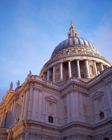 United Kingdom, London, St Pauls cathedral dome in the twilight