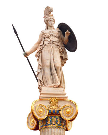 Athena statue, the ancient goddess of philosophy and wisdom 免版税图像