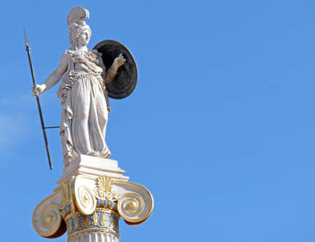 Greece, Athena the goddess of knowledge and wisdom statue, space for typing on blue sky Stock Photo