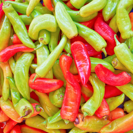 colorful peppers top view, natural background