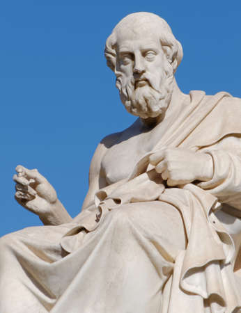 Plato the greek philosopher statue on blue sky background Imagens