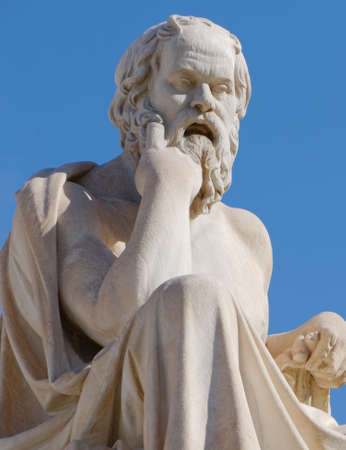 Athens Greece, Socrates the philosopher statue on blue sky background