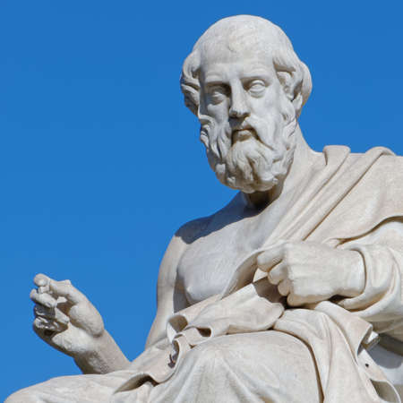 Plato the greek philosopher statue on blue sky background Stok Fotoğraf