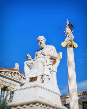 Plato the philosopher and Athena the goddess of wisdom and knowledge, Athens Greece Stock Photo