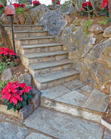 stairs and zen garden decorated with christmas red flowers  Stock Photo