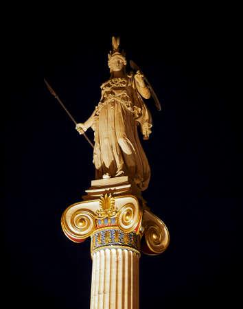 Greece, Athena statue night view, the greek goddess of knowledge and wisdom