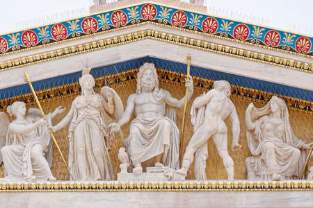 Athens Greece, Zeus, Athena and other ancient greek gods and deities  스톡 콘텐츠