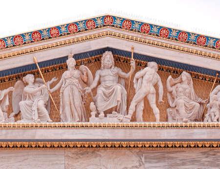 Athens Greece, Zeus, Athena and other ancient greek gods and deities  Stockfoto
