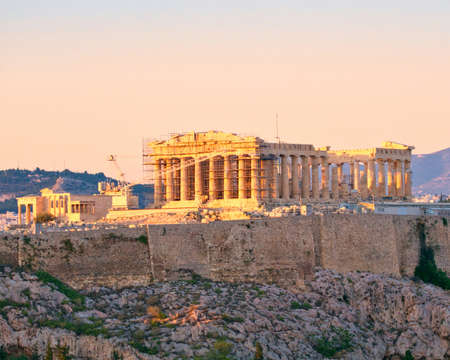 Athens Greece, Parthenon ancient temple on Acropolis hill during the golden hour