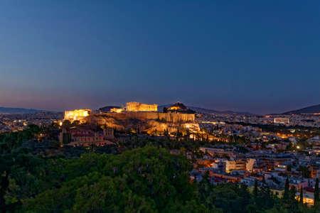 Athens Greece, Acropolis scenic twilight view