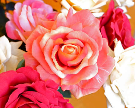 colorful fake rose flowers top view