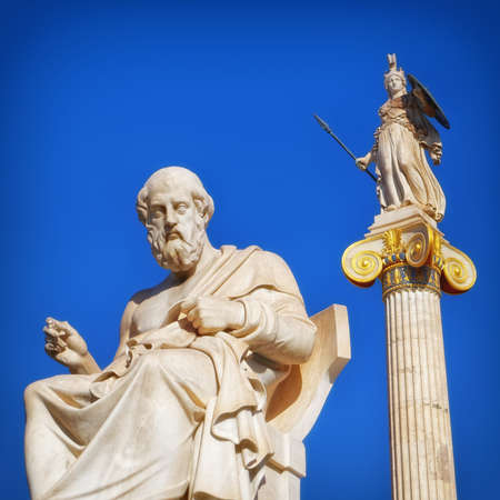 Plato the philosopher and Athena the goddess of wisdom and knowledge, Athens Greece Editöryel