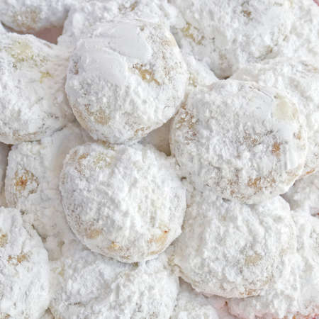 Kourabiedes traditional Greek Christmas shortbread cookies covered with icing sugar