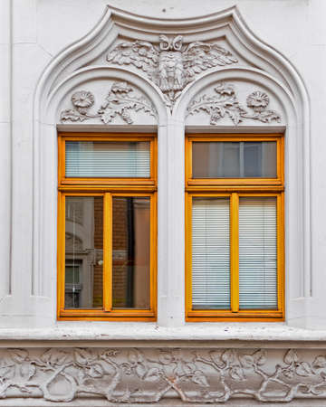 art nouveau house windows, Germany Stock Photo