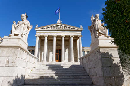 national academy of Athens Greece, main facade view  with Plato and Socrates statues