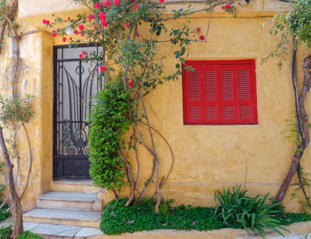 Athens Greece, picturesque house exterior, Anafiotika district in Plaka old neighborhood