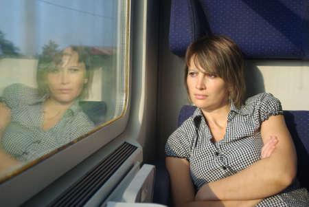 Young women in train