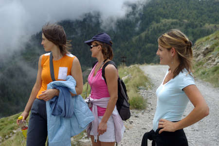 Women hiker in mountains Stock Photo - 5557657