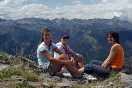 Women hiker in mountains photo