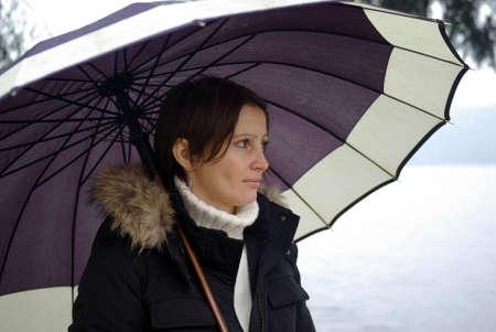 Woman with umbrella photo