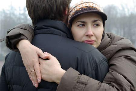 Love couple embracing photo