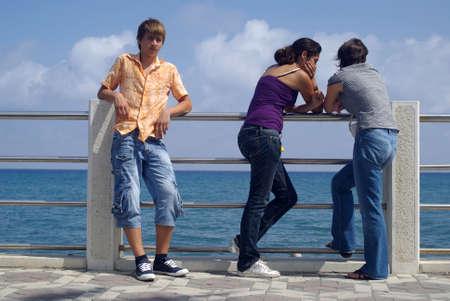 Teenage boy and girl photo