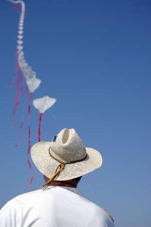 Man flying kite Stock Photo - 9492864