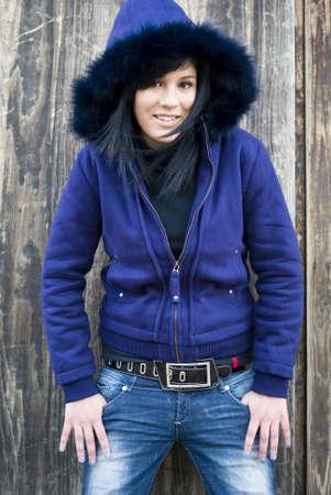 Teenage girl outdoors photo