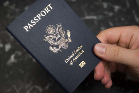 citizenship: Hand holding american passport