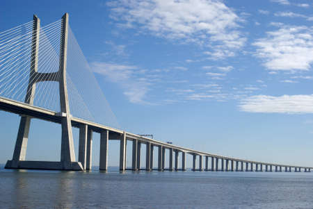 bridges: Vasco da Gama bridge in Lisbon Stock Photo