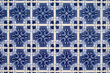 majolica: Detail of azulejos, traditional portuguese tiles Stock Photo