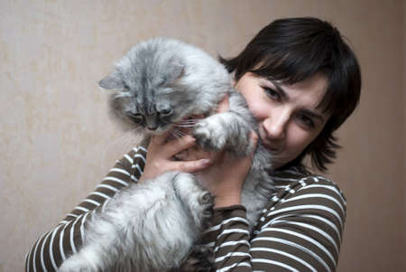 Woman with cat photo