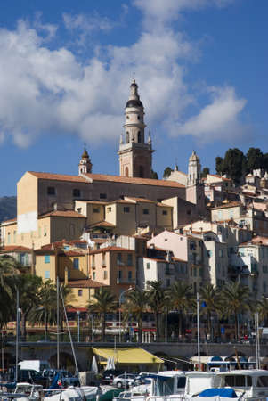 middle ages boat: Menton  Tourist destination on the Azure coast in France
