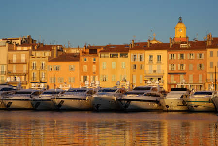 Harbour of Saint Tropez in the evening light, France