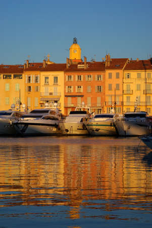 Harbour of Saint Tropez in the evening light, France photo
