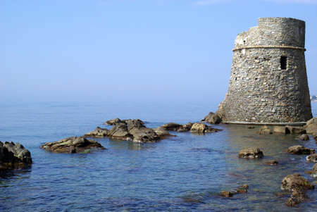loophole: Saracen fortification along of Italian coast Stock Photo