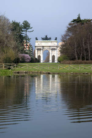 passageways: View of Sempione Park, with the Arch of Peace in Milan, Italy