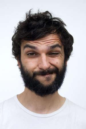 man close up: Ritratto di uomo con la barba
