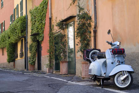 Vintage scooter parked in the street